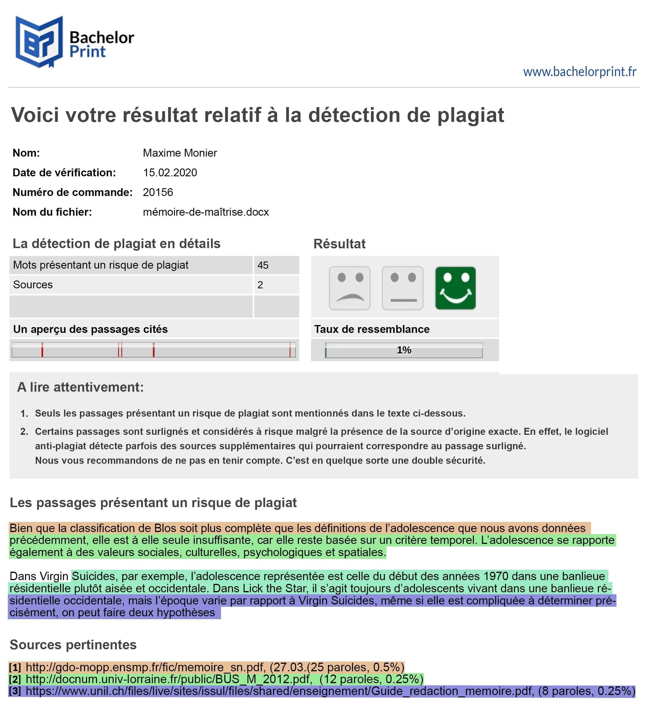 Exemple Le rapport récapitulatif d'évaluation suite à la Plagiat Verification